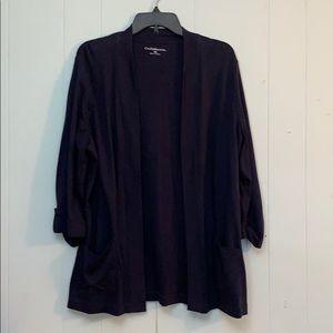 Croft & Barrow Navy Blue 3/4 Sleeve Cardigan Sz XL